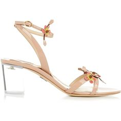 Paul Andrew Floella embellished patent-leather sandals (£387) ❤ liked on Polyvore featuring shoes, sandals, nude multi, nude patent leather shoes, nude block heel shoes, paul andrew, patent shoes and nude patent shoes