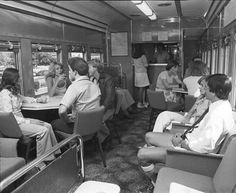 The guy on the right means business - 70s Queensland rail dining car