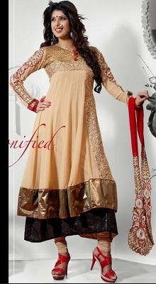 Beige Brown Anarkali By Tellywood Star Toasty
