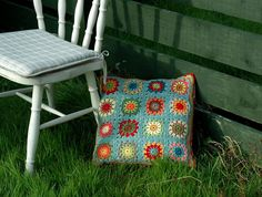 Crocheted Granny Squares pillow