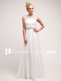 A-Line Jewel-Neck Cap-Sleeve Dress With Ruching And Waist Jewellery