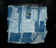 Handmade Upcycled Rag Jean Quilt Style Purse Bag Tote. $45.00, via Etsy.