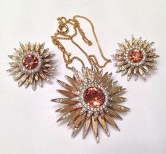 Excited to share this item from my shop: Vintage Nettie Rosenstein Citrine Orange Glass Snowflake Starburst Pendant and Earring Set Antique Jewelry, Gold Jewelry, Vintage Jewelry, Designer Earrings, Vintage Designs, Earring Set, Costume Jewelry, Snowflakes, Fashion Jewelry