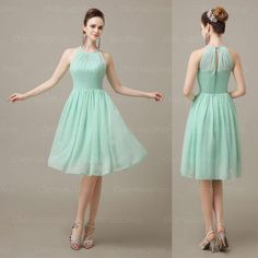 Mint Green Cute Chiffon Halter Bridesmaid Dress, Knee Length Short Cheap Pleated Bridesmaid Dresses, BD15392, $82.73 | DHgate.com