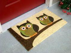 Amazon.com: Kempf Vinyl Backed Natural Coco Doormat, Twin, Owl Imprint: Home & Kitchen