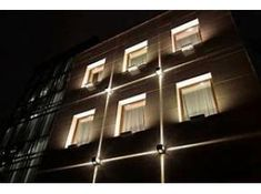 Architectural lighting of the office building facade Facade Lighting, Exterior Lighting, Outdoor Lighting, Accent Lighting, Building Exterior, Building Facade, Building Design, Blitz Design, Architectural Lighting Design