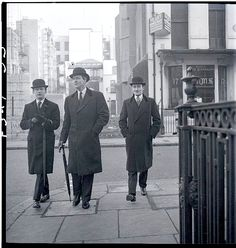 The New Mayfair Edwardians: Peter Coats, William Ackroyd and Mark Gilbey. Photographed for Vogue Magazine by Norman Parkinson. 1950