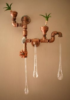 Lamps In Industrial And Retro Style Made Of Recycled Plumbing