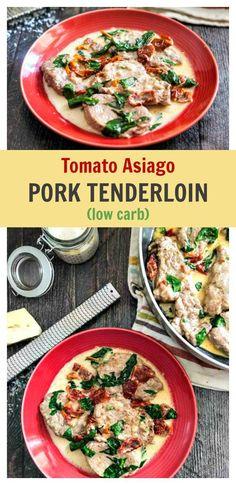 Tomato Asiago Pork Tenderloin Skillet - low carb dinner ( 3.6g net carb) 30 minutes to make