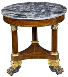 c1830 Classical center table, Phila, PA, mah,gilt,verde, 29d, 16-24.   http://www.ebay.com/usr/circa19century