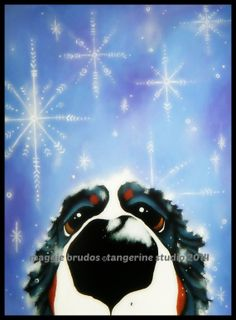 MAGGIE BRUDOS bernese mountain Dog snow by tangerinestudio, $58.00