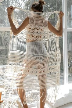 Women Beige Hollow Out Crochet Fringe Hem Sexy Beach Cardigan Cover Up - One Size Swimwear Cover Ups, Swimsuit Cover Ups, Swim Cover, Bikinis Crochet, Mode Crochet, Crochet Fringe, Beach Cover Ups, Casual Skirt Outfits, Hommes Sexy