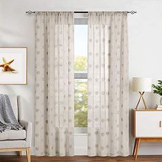 jinchan Beige 63 Inch Seashells Pattern Tan Sheer Curtains Living Room Darpes Window Sheers for Bedroom Beach Curtain Panels 63 Inch Summer 2 Panels | CountryCurtains Curtain Texture, Curtain Panels, Panel Curtains, Beach Curtains, Sheer Curtains, Window Sheers, Curtains Living, Interior Decorating, Interior Design