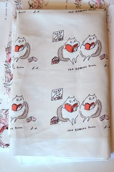 MOM! Can you make me a pillow out of this?  Reading Cats Fabric. $32.00, via Etsy.