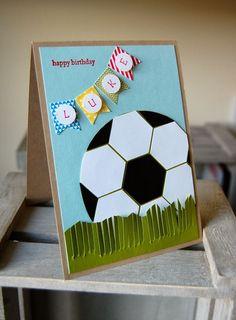 Julie's Japes - A Top UK Independent Stampin' Up! Demonstrator : Birthday Boy - - Julie's Japes – A Top UK Independent Stampin' Up! Demonstrator : Birthday Boy Crafts for kids Julie's Japes – A Top UK Independent Stampin' Up! Birthday Cards For Boys, Bday Cards, Handmade Birthday Cards, Happy Birthday Cards, Boy Birthday, Funny Birthday, Soccer Birthday Parties, Soccer Cards, Football Cards
