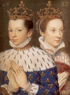Mary, Queen of Scots (bn. 1542) and her first husband Francis II of France.  Mary was the only child of James V of Scotland and Mary of Guise.  She was raised in the French court of Henry II and Catherine de' Medici.  The young newly married couple became King and Queen of France in 1559 not even a year after their marriage.  Francis died less than a year after that leaving Mary a widow and she returned to Scotland to rule and cause trouble for her lords and her cousin Queen Elizabeth I.