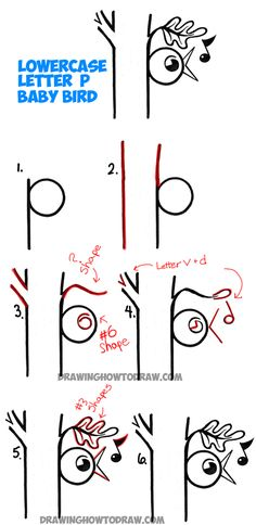 Learn How to Draw Baby Bird Singing in Tree from the Letter P - Simple Step by Step Drawing Lesson for Kids