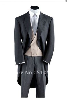 morning coat for grooms | Wholesale Free shipping black wool morning coat Wedding Groomsman ...