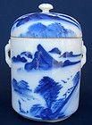 STUNNING VINTAGE HANDPAINTED COBALT BLUE TIN GLAZE ON PORCELAIN LIDDED JAR - VGC on eBay for $7