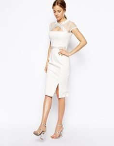 Image 1 ofTempest GiGi Dress With Mesh Cut Out Neckline