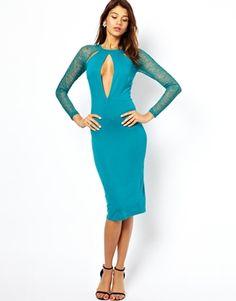 ASOS Lace Panel Cut Out Midi Dress