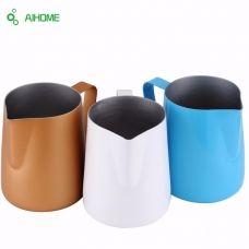 Color Stainless Steel Milk Jug Foam Garland Cup Fancy Art Latte Coffee Chocolate Tea Moka Cappuccino Cafe Drinking Mugs Pot