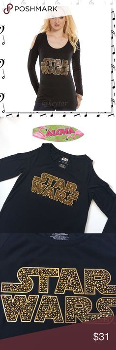 Rock & Republic STAR WARS Cold Shoulder Too NWT The style Force will be with you wearing this women's Rock & Republic Star Wars graphic tee. Featuring rhinestone Star Wars graphic, could shoulder design and scoop neck. Time to gear up for fall!   ❌trades ❌lowballs offer button  Bundle 2 or more items and save 10% Rock & Republic Tops Tees - Long Sleeve