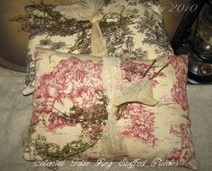 Colonial Toile Rag Stuffed Pillow Tuck  OFG by harvestmoonprims, $12.95