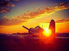 F4U Corsair sunset.