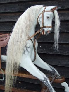DOULTON G & J LINES ANTIQUE DAPPLE GREY ROCKING HORSE C1915