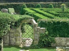 Traditional English Garden Design - on this private estate, adults and children alike delight in the taxus maze - Veranda