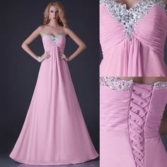 In Stock Strapless Chiffon Bridesmaid Party Gown Prom Evening Formal Long Dress | eBay