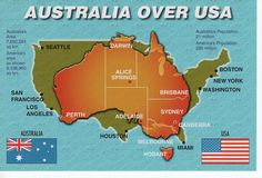 Australia over USA map with flags