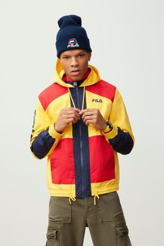 Featuring a distinct feel, this versatile hooded jacket keeps you protected from the elements in style thanks to its three-color scheme with boldly-blocked panels. Don't get caught this spring without one. Sweater Jacket, Hooded Jacket, Men Sweater, Men Warehouse, Colourful Outfits, Mens Clothing Styles, Beautiful Outfits, Hoods, Men's Shirts