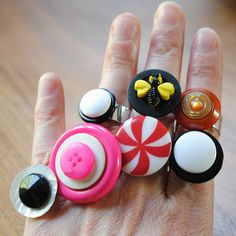 Button rings! (Cute stocking stuffers for Grams to make for the future little g-daughter!)