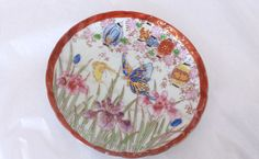 "Fine China Saucer 5 1/2"" Orchids and Butterflies Gold Accents Japan Maker's Mark"