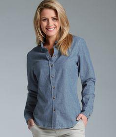 blue chambray shirt women | Home / Women's Button Down Collar Chambray Shirt