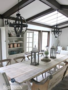 Sherwin Williams Agreeable Gray via Kylie M Interiors E-design and Online Color consulting. Shown with dark wood trim and beams. Farmhouse dining room. Gingham and Grace blog