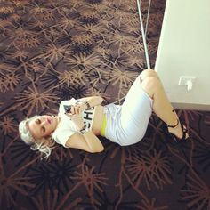 Perrie was waiting by playing on her phone while it charged!!