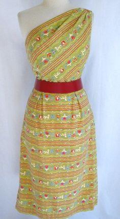 Vintage 50s CAROLYN SCHNURER Novelty Print Dress