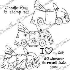 Doodle Bug Car 5 x Digital Stamp