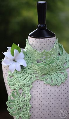 """Gardenia Crocheted Scarf Pattern/Ebook PDF by mylittlecitygirl. Inspired by the beautifully fragrant gardenia of Hawaii,  known there as the """"kiele""""."""