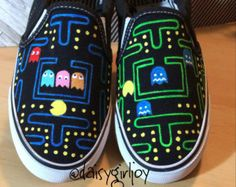 Custom hand painted Pac Man Vintage Toddler Children or Adult shoes