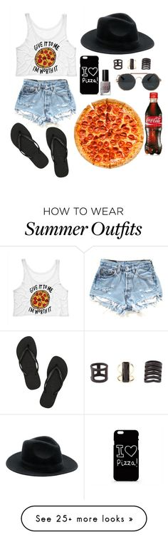 """Pizza at the Beach"" by tomgurl on Polyvore featuring moda, Bobbi Brown Cosmetics, Charlotte Russe y Havaianas"