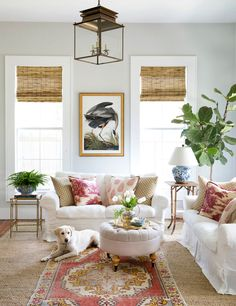 Holly Mathis living room as seen in Country Living Magazine shot by Buff Strickland | country chic living room | southern charm | seen here IKEA Ektorp sofas with Bemz Loose Fit Country cover in Absolute white Rosendal Linen