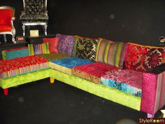 Patchwork Corner Sofa- would love to do something like this to mine, but my hubby would probably kill me!