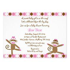 Pink Sock Monkey Baby Shower Invitations