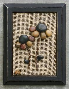 FREE SHIPPING  This set of three will be made to order on burlap.  A collection of three framed pebble flowers set on burlap backgrounds in 5x7 open wood frames that are painted in black acrylics with light distressing. Thank you so much for looking. Please message with any questions....P.S. I love special requests...and dont forget to check out my shop