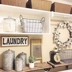 Shabby chic or vintage laundry rooms bring a touch of soft country charm to your home. With the pretty vintage laundry room decor ideas on this list, Rustic Laundry Rooms, Laundry Room Wall Decor, Laundry Room Remodel, Farmhouse Laundry Room, Laundry Room Organization, Laundry Room Design, Laundry In Bathroom, Laundry Closet, Basement Laundry