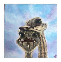 Acrylic painting 20x20 by Mariya Butakov Ostriches, Cute, Artwork, Painting, Idea Paint, Artworks, Art Production, Work Of Art, Auguste Rodin Artwork